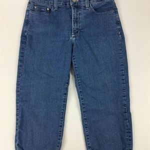 NYDJ Capris Size 6P Stretch Blue Denim Crop Womens